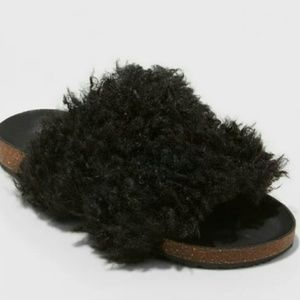 Faux Fur Black Slides Size 9.5